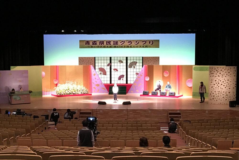 青森県民謡グランプリ 舞台設営